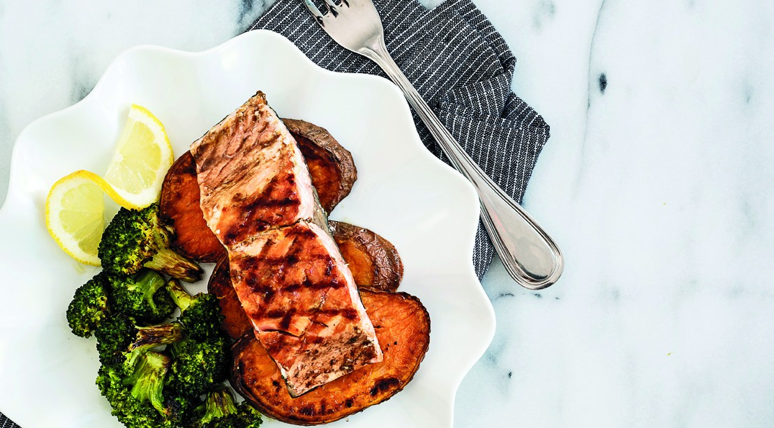 Grilled Alaskan King Salmon with Roasted Broccoli and Sweet Potatoes
