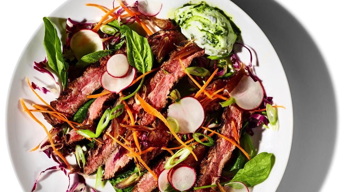 Grilled beef salad.