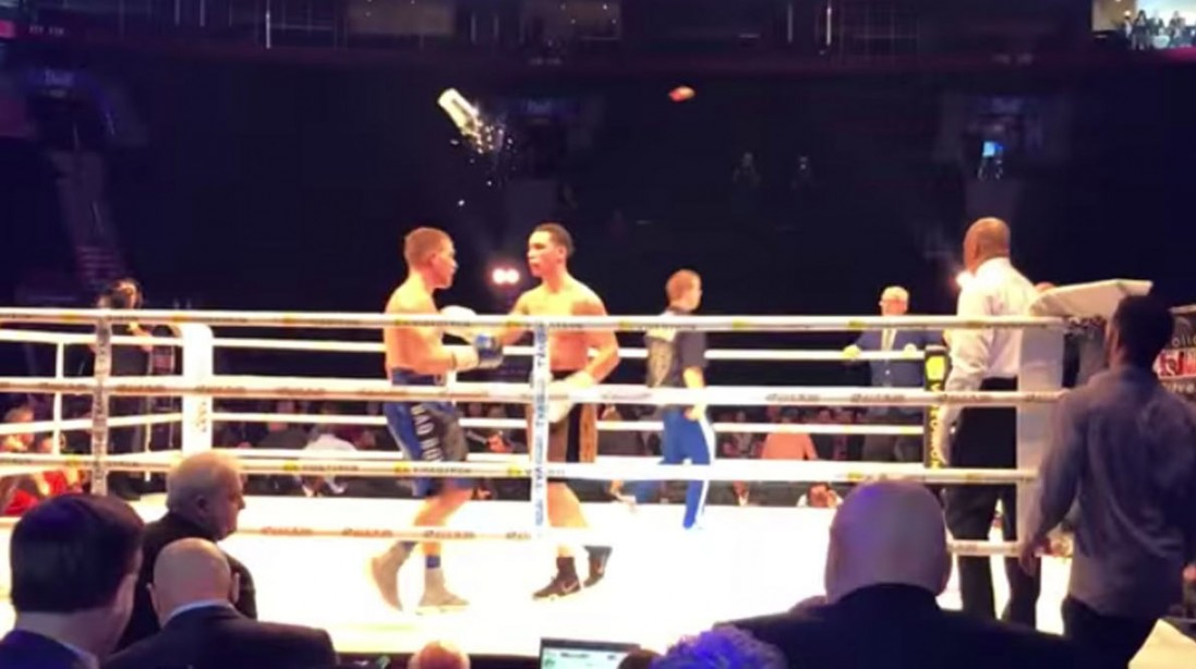 Watch: Boxer gets knocked out cold by ice bucket after winning a fight