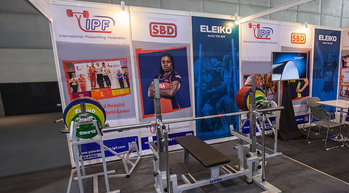 International Powerlifting Federation (IPF) stand is seen during the third day of Sport Accord 2018 at the Centara Grand & Bangkok Convention Centre in Bangkok, Thailand on April 17, 2018.