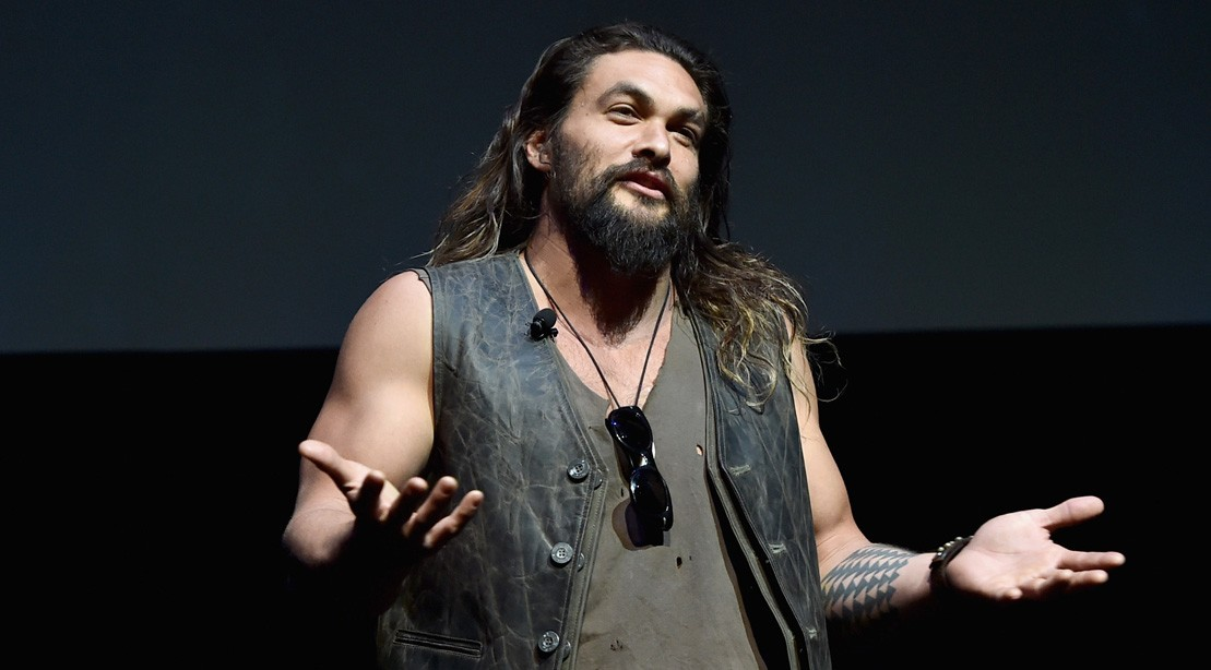 Actor Jason Momoa Speaks Onstage At CinemaCon 2017 Warner Bros. Pictures