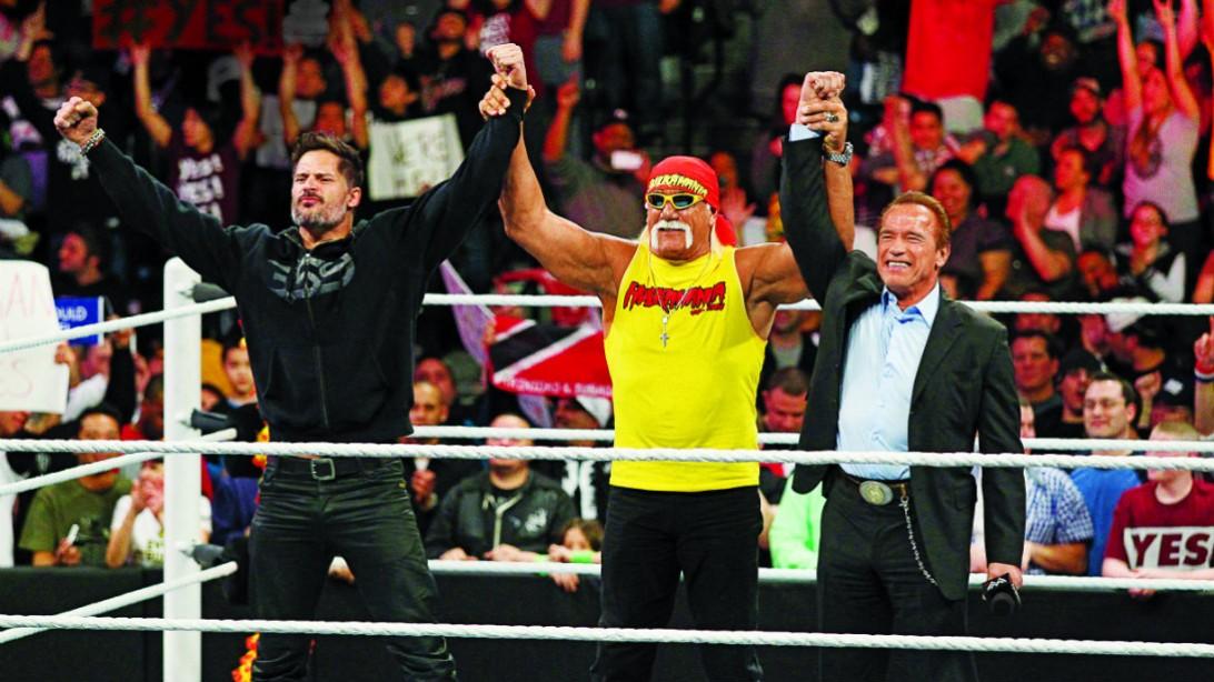 Hulk Hogan, Arnold Schwarzenegger at Wrestlemania