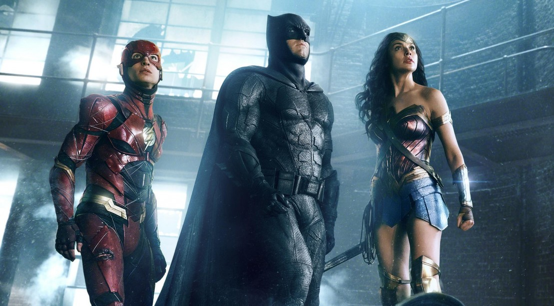 "The Flash, Batman, and Wonder Woman in Warner Bros. Pictures' action adventure ""Justice League."""