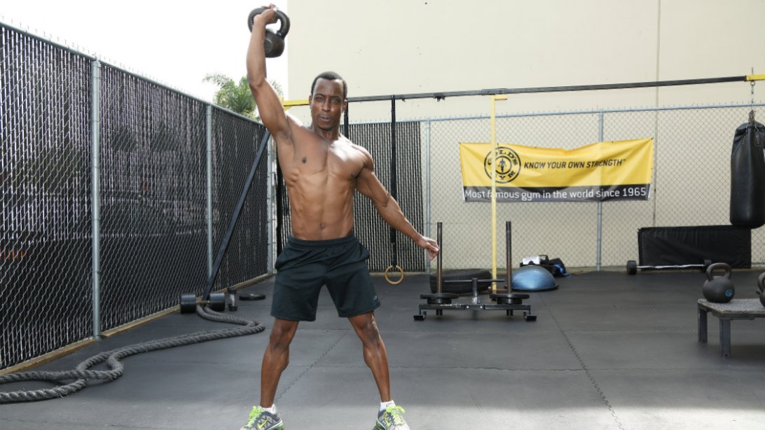 Man Performing Kettlebell Exercise