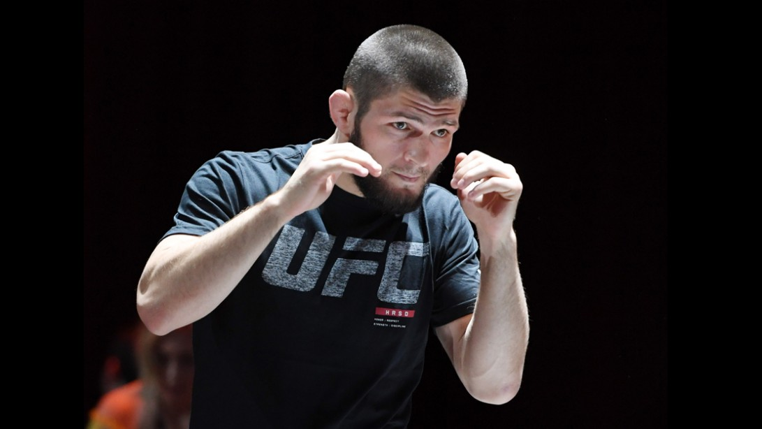 UFC lightweight champion Khabib Nurmagomedov attends an open workout for UFC 229.