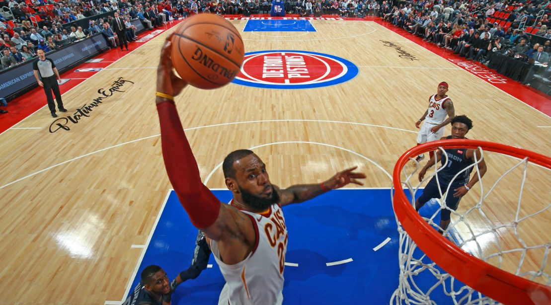 LeBron James #23 of the Cleveland Cavaliers dunks the ball during the game against the Detroit Pistons