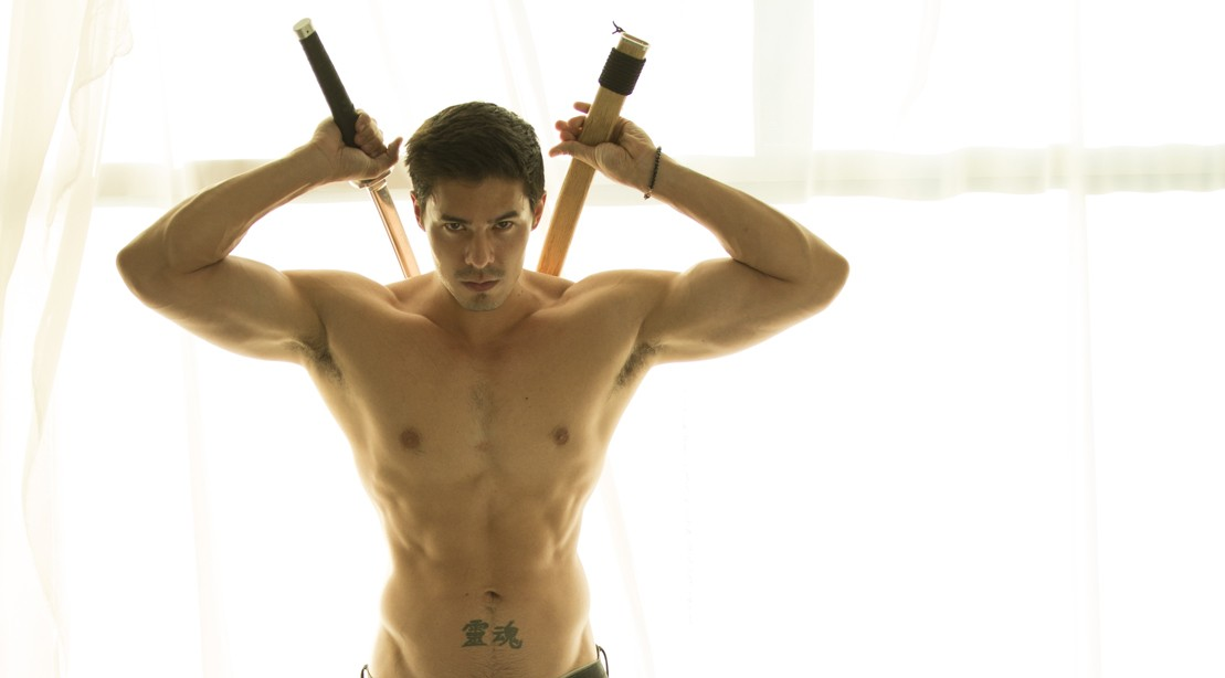 Lewis Tan From Iron Fist With Two Swords