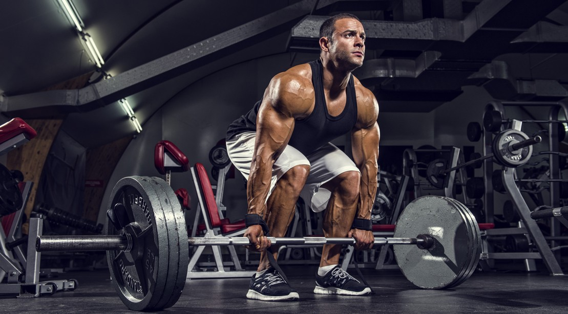 Bodybuilder Preparing to Deadlift