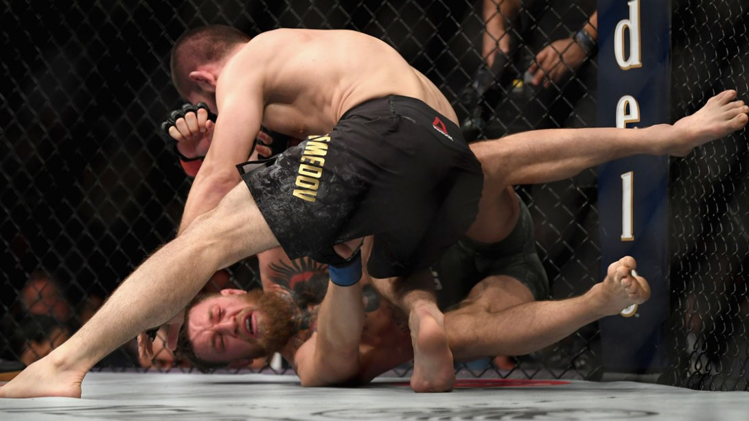 Khabib Nurmagomedov of Russia (top) punches Conor McGregor of Ireland in their UFC lightweight championship bout during UFC 229.
