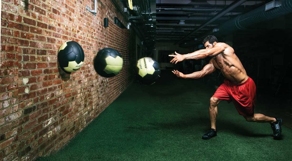 medicine ball wall ball throw