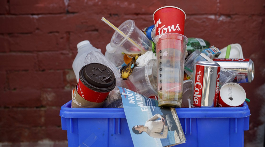 Plastic in a Recycling Bin
