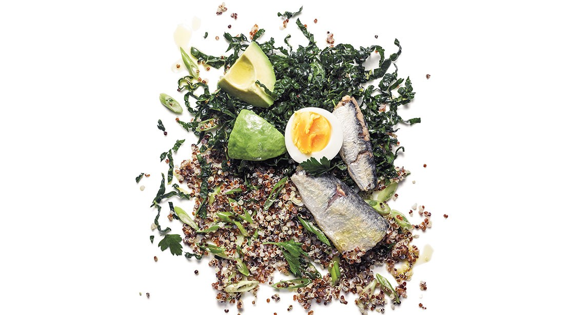 Quinoa Salad with Sardines and Kale