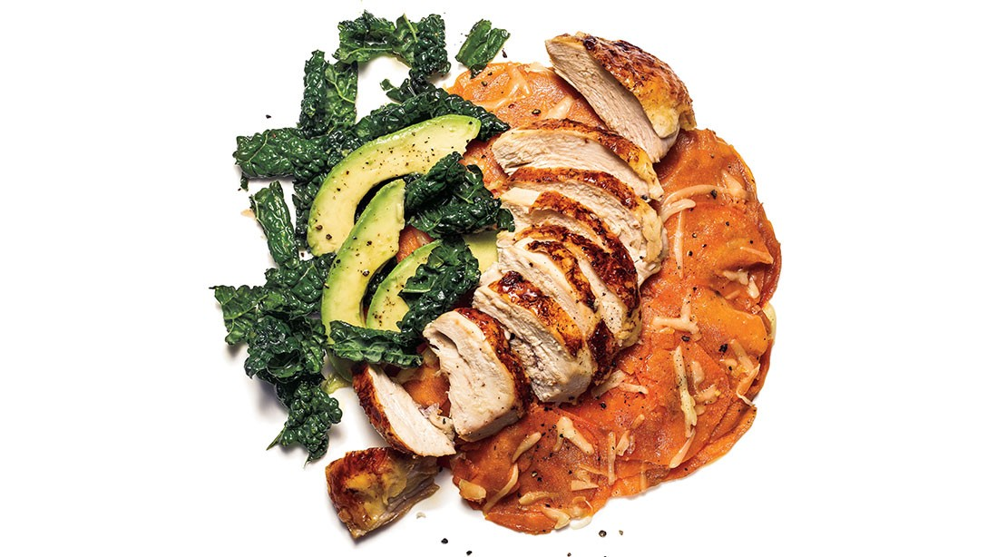 Roasted Chicken Breast With Sweet Potato Gratin
