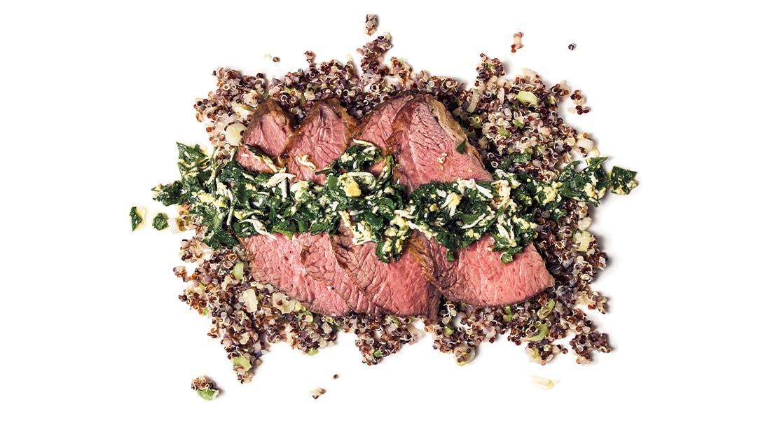 Roasted Tri-Tip Steak with Herb Sauce & Scallion Quinoa
