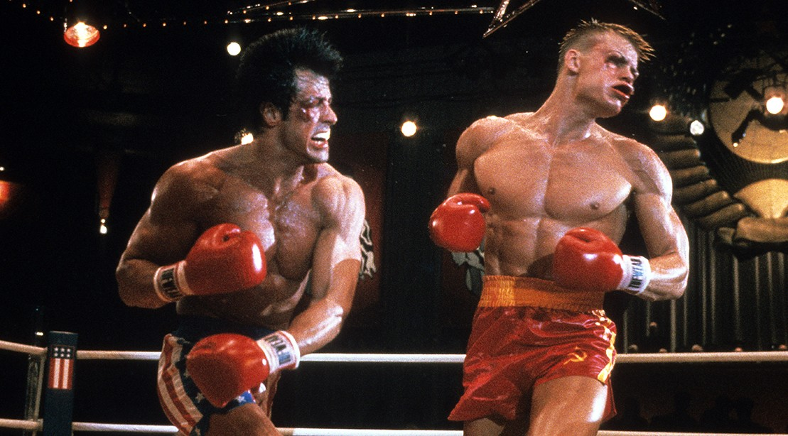 "Sylvester Stallone beats Dolph Lundgren in a scene from the movie ""Rocky IV"", 1985. ""title ="" Sylvester Stallone beats Dolph Lundgren in a scene from the movie ""Rocky IV"", 1985. 1985. ""/>    <div class="
