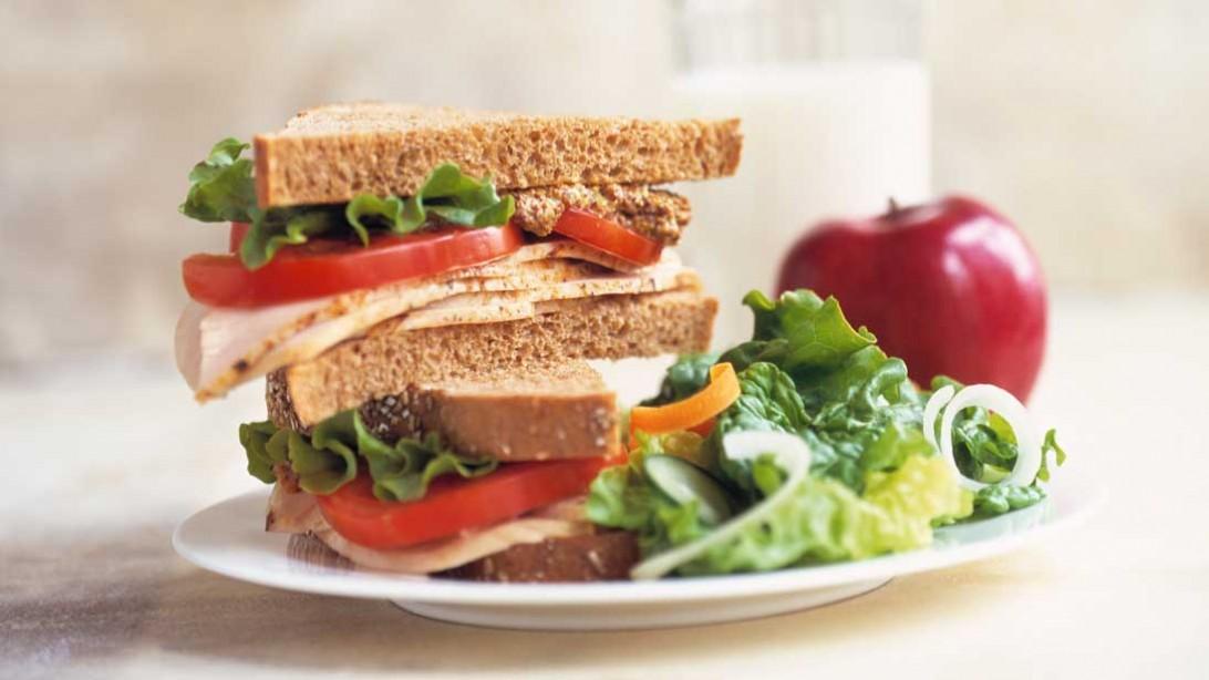 salad and sandwich