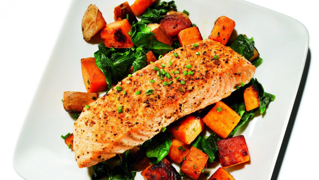 15 Minute Feast Cumin Roasted Salmon And Sweet Potato
