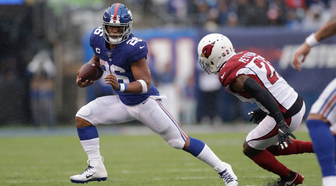 Saquon Barkley rushed for 72 yards against the Cardinals in his first game back after suffering a high-ankle sprain
