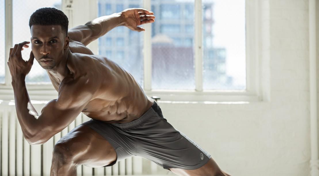 Shirtless man doing cardio.