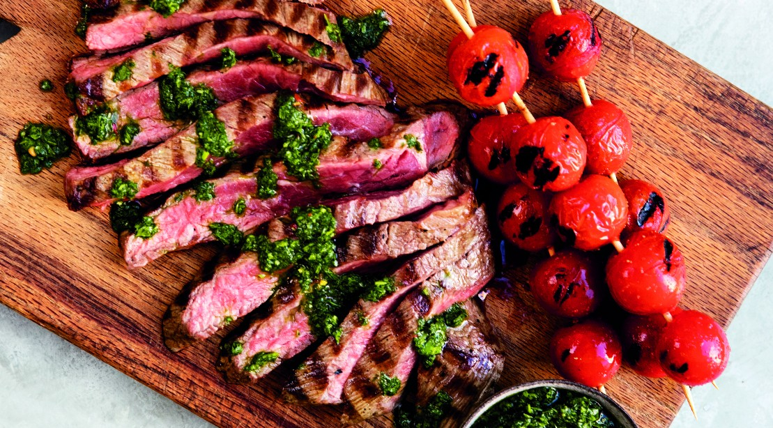 Churrasco Skirt Steak with Grilled Tomatoes and Cilanto Sauce