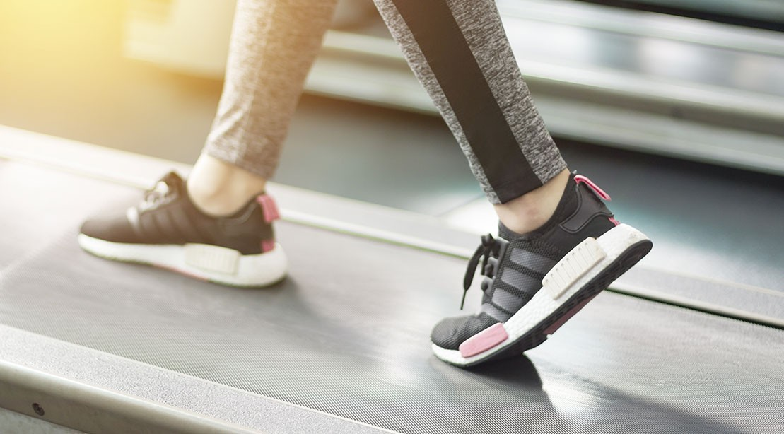 Sneakers on a treadmill