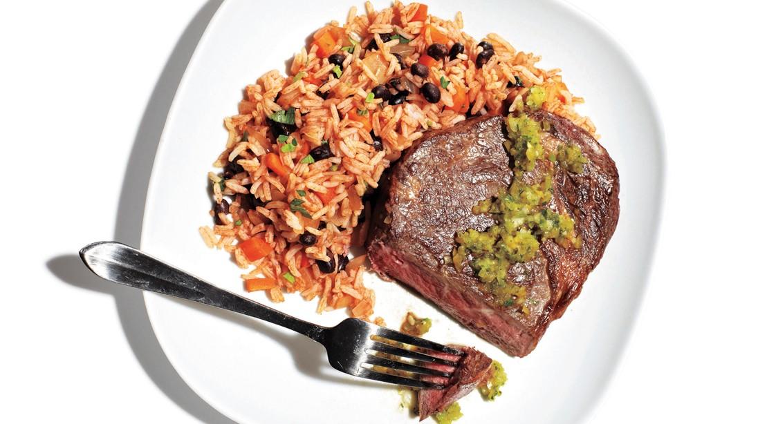 Seared Rib Eye, Salsa Verde,  Dirty Rice
