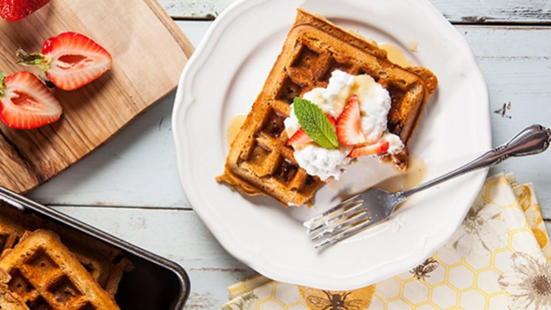 Strawberry Protein Waffles