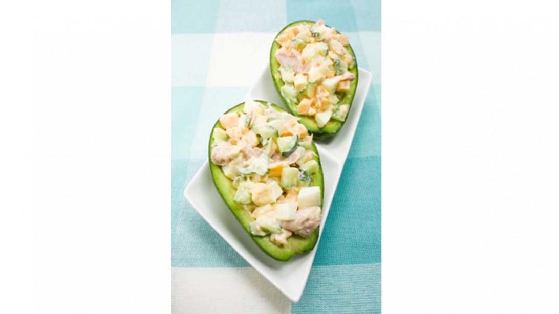 two stuffed avocado halves