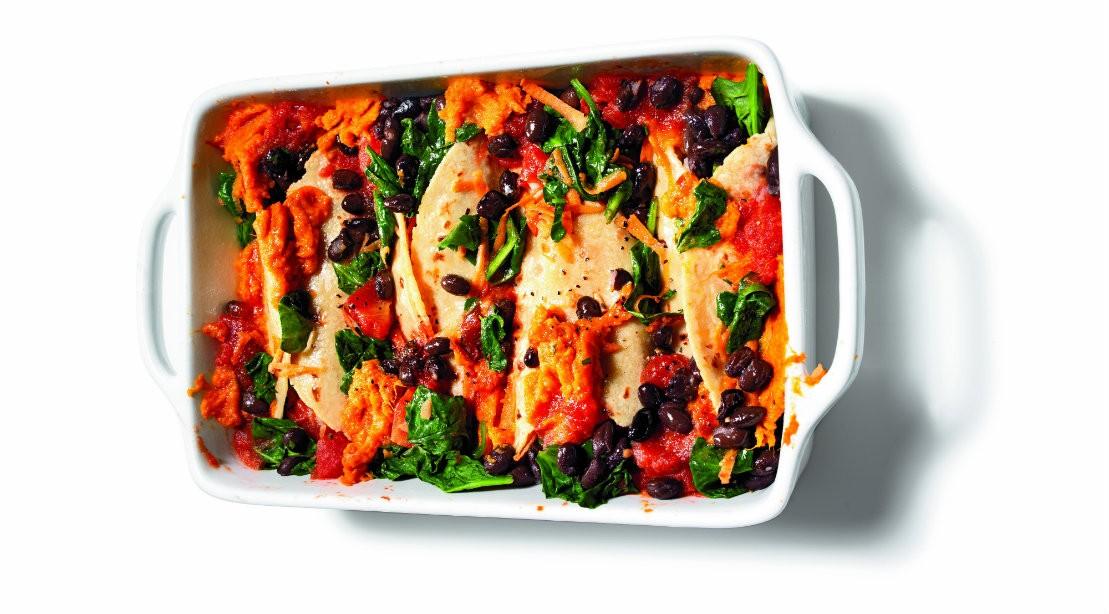 Healthy Cheats: Black Bean & Sweet Potato Enchiladas