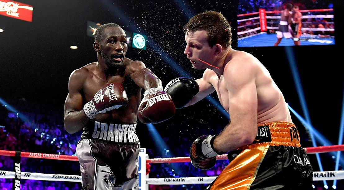 Terence Crawford lands a punch on Jeff Horn