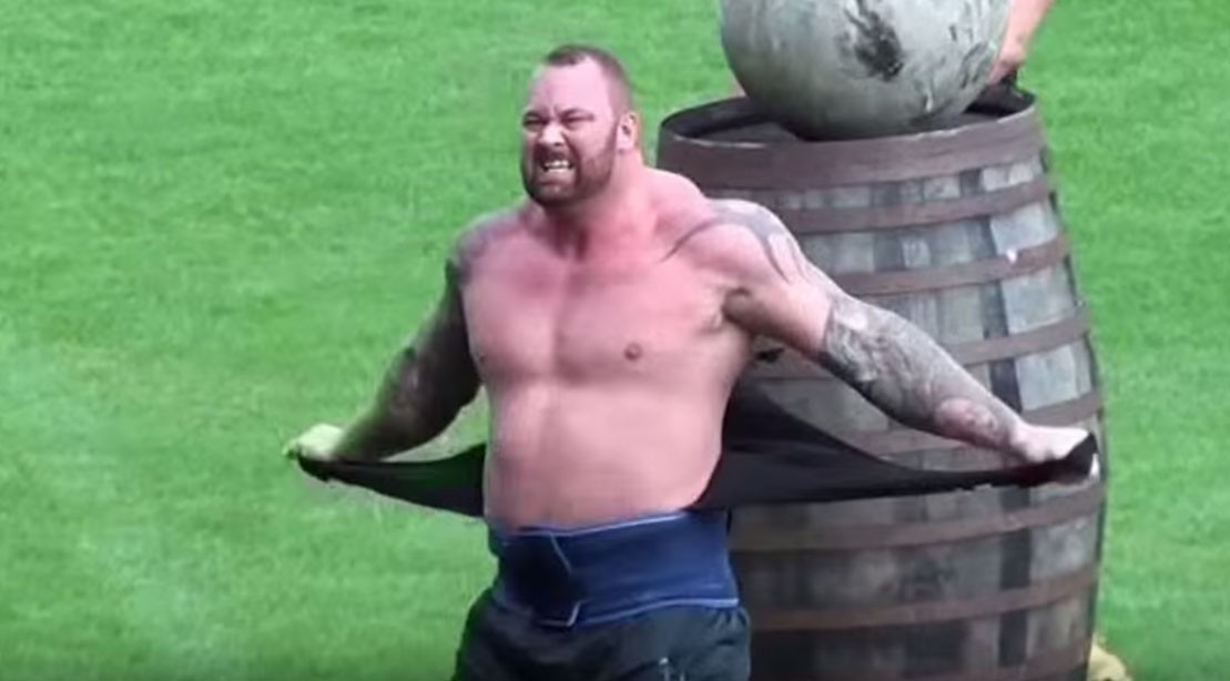 Hafþór Björnsson Rips Off His Shirt At The 2015 Europe's Strongest Man Competition.