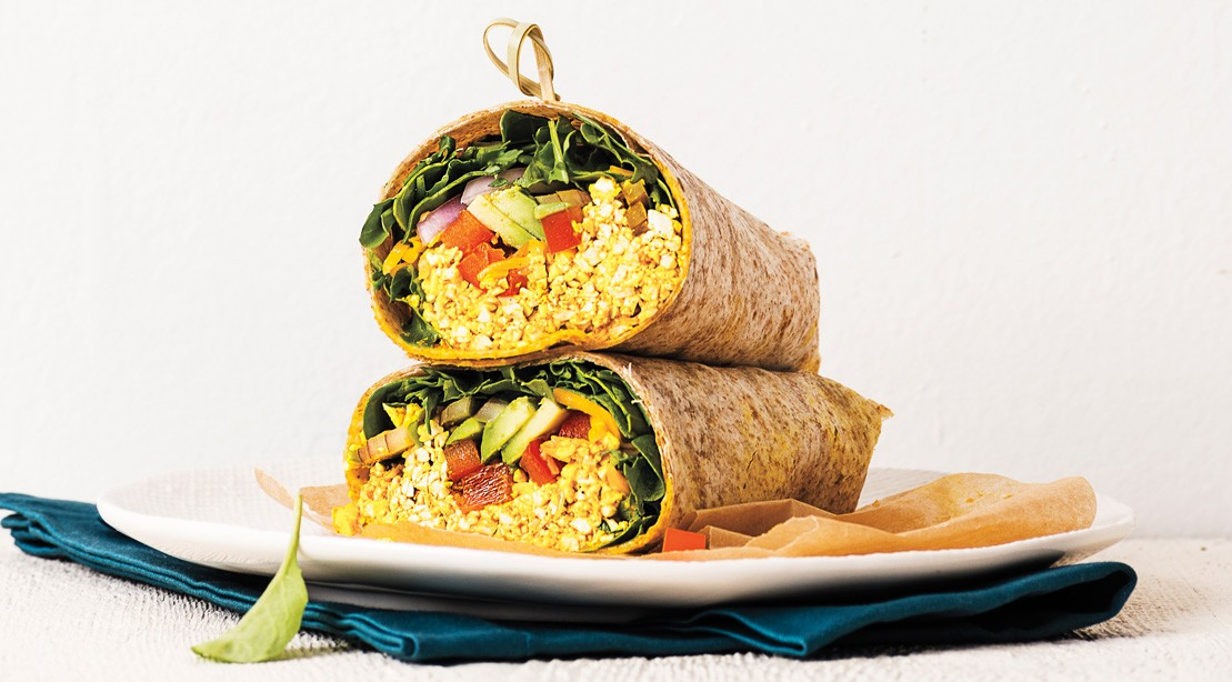Tofu Avocado Scrambled Egg Wrap