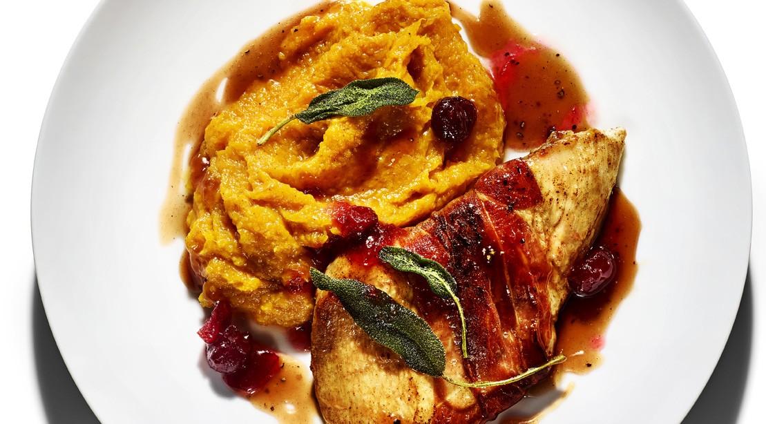 Turkey Piccata with Winter-Squash Puree