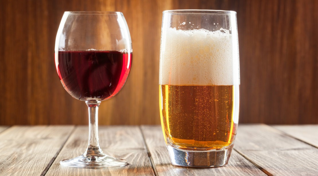 Red Wine And Beer Glass Side By Side