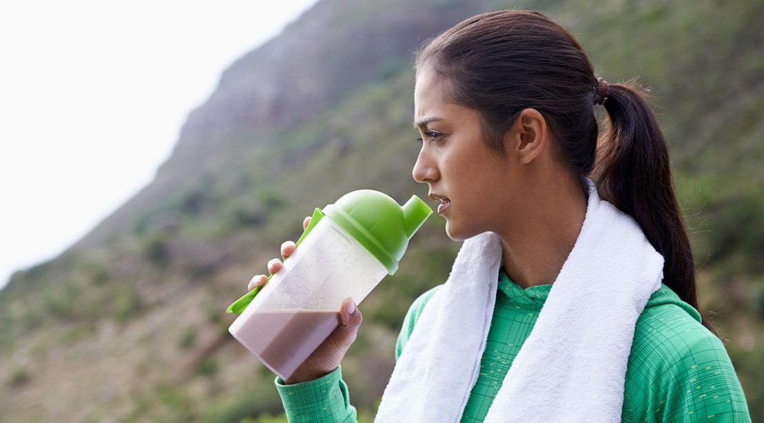 Woman Drinking A Protein Shake
