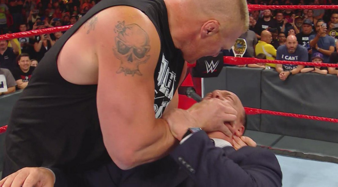 WWE 'Raw' Recap: Brock Lesnar Hits Kurt Angle with an F5, Puts Paul Heyman In a Chokehold