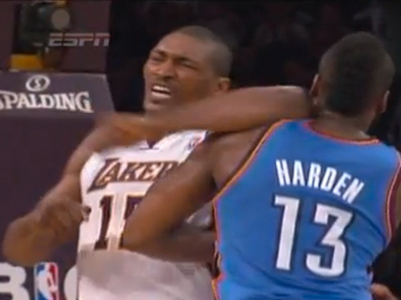 d7078f305400 NBA Star Metta World Peace Ejected After Flailing Elbow Decks James Harden