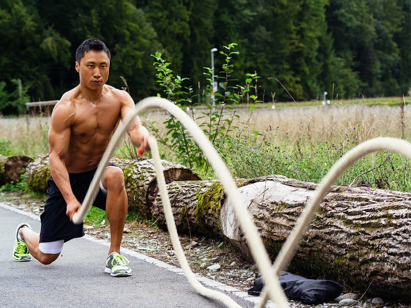 Man Does Rope Tabata Exercise To Strengthen Forearms