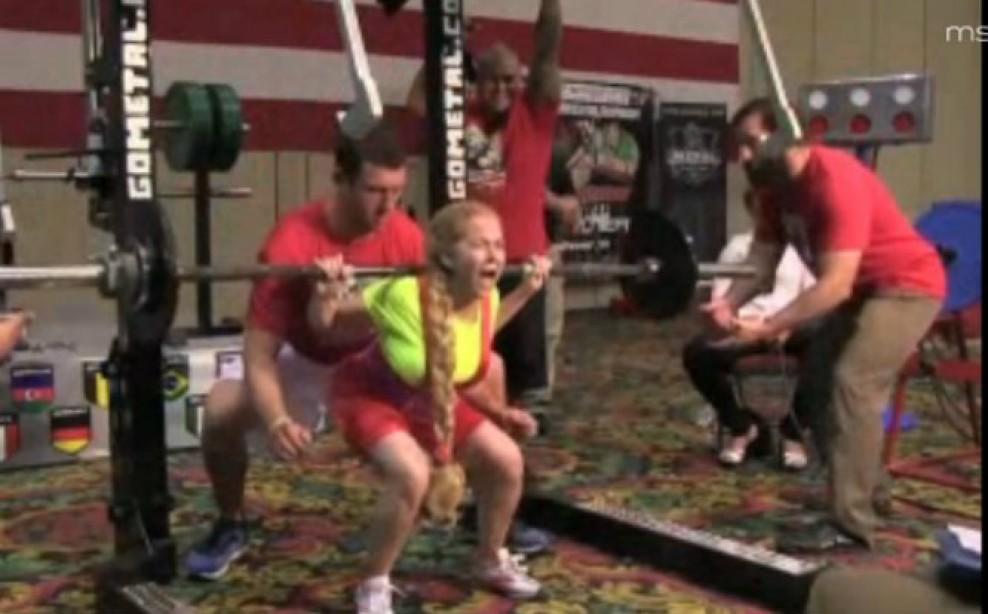Senior Female Weightlifter Uses Unique Squatting Technique