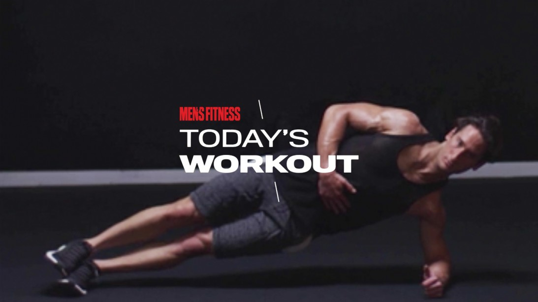 Man Does Side Plank Exercise For Core Workout Routine