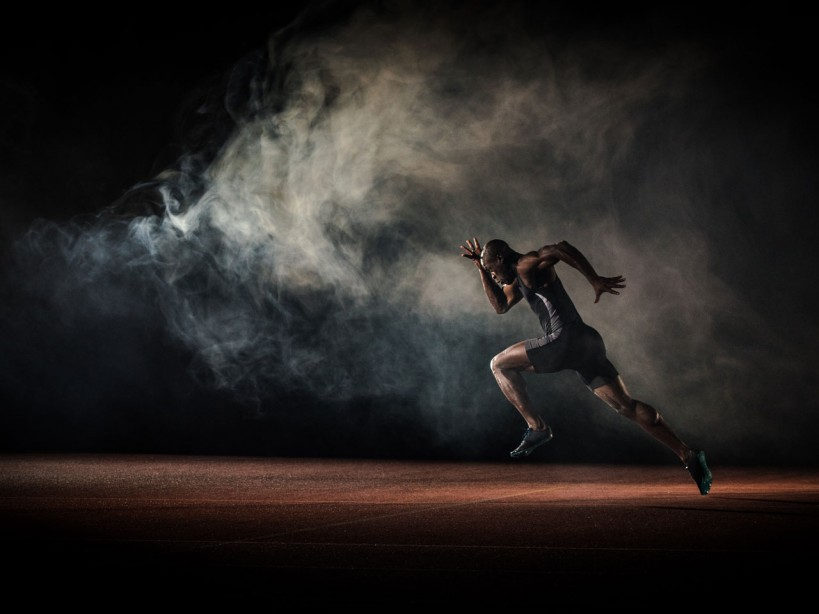 Man sprinting on track