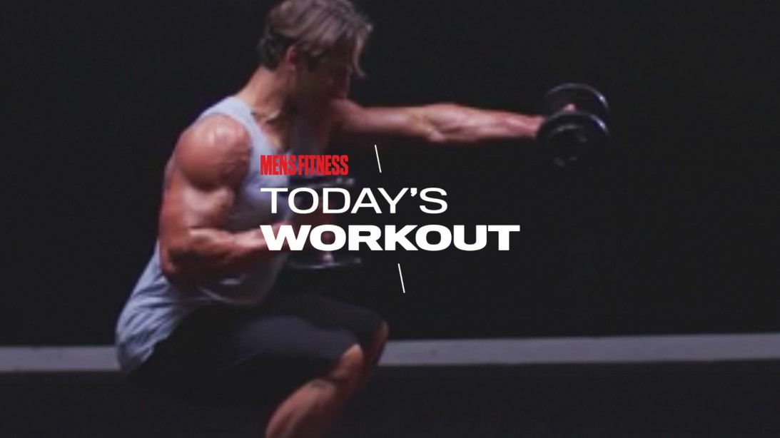 Man does dumbbell squat punch exercise