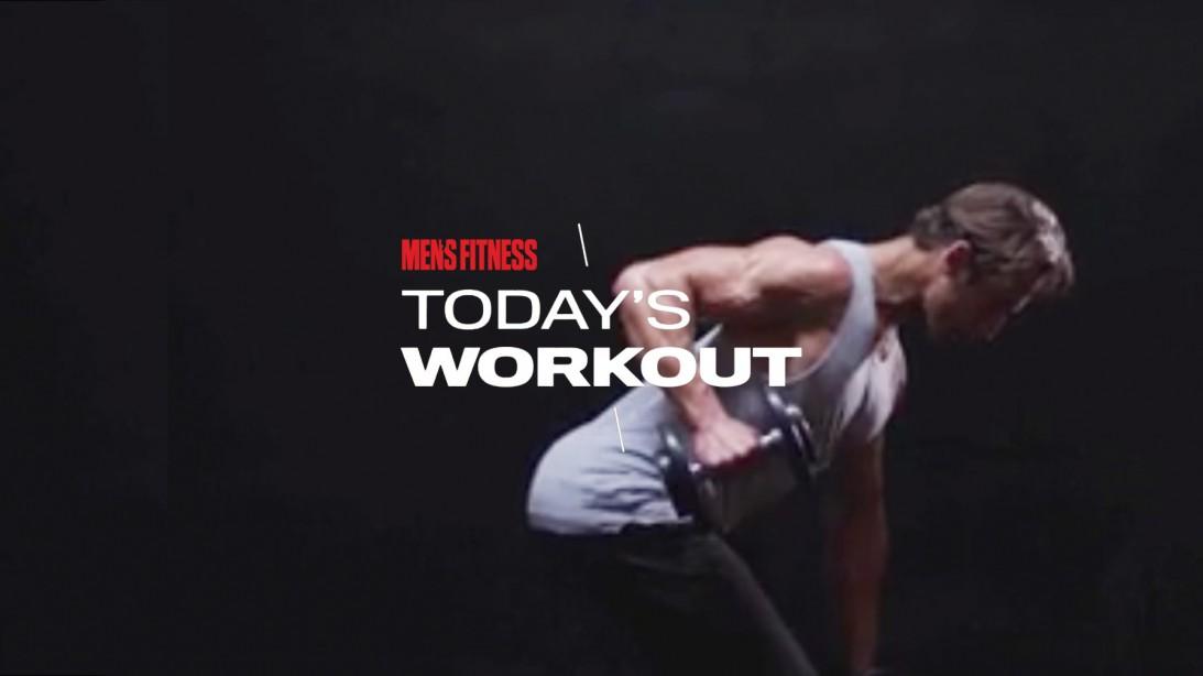 Man Does Stiff-Leg Dumbbell Row Exercise