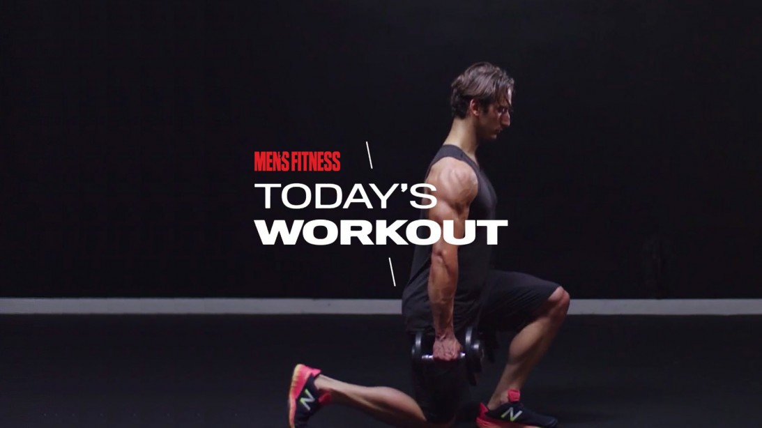 Man Does Reverse Lunge Exercise Holding A Pair Of Dumbbells