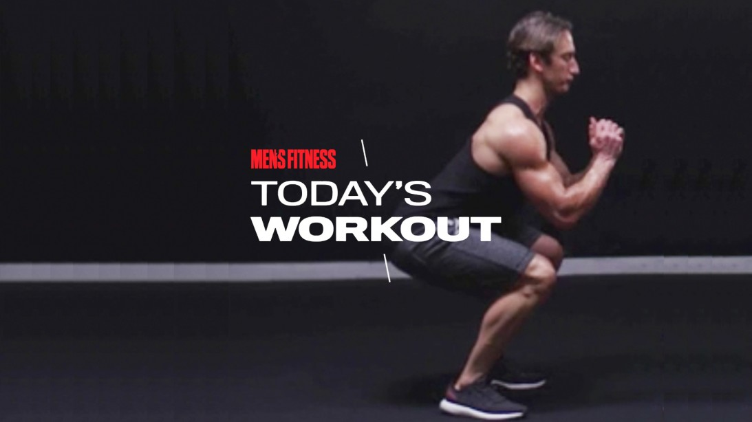 Man Does Jump Squat Exercise