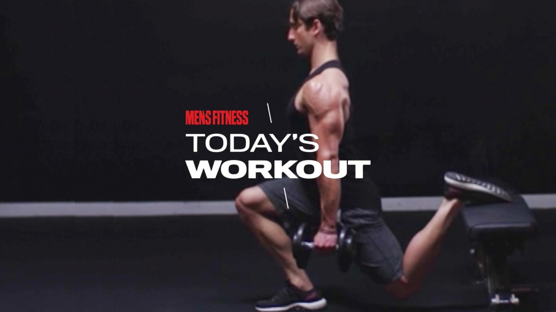 Man Does Rear-Leg Elevated Split Squat During Lower-Body Workout