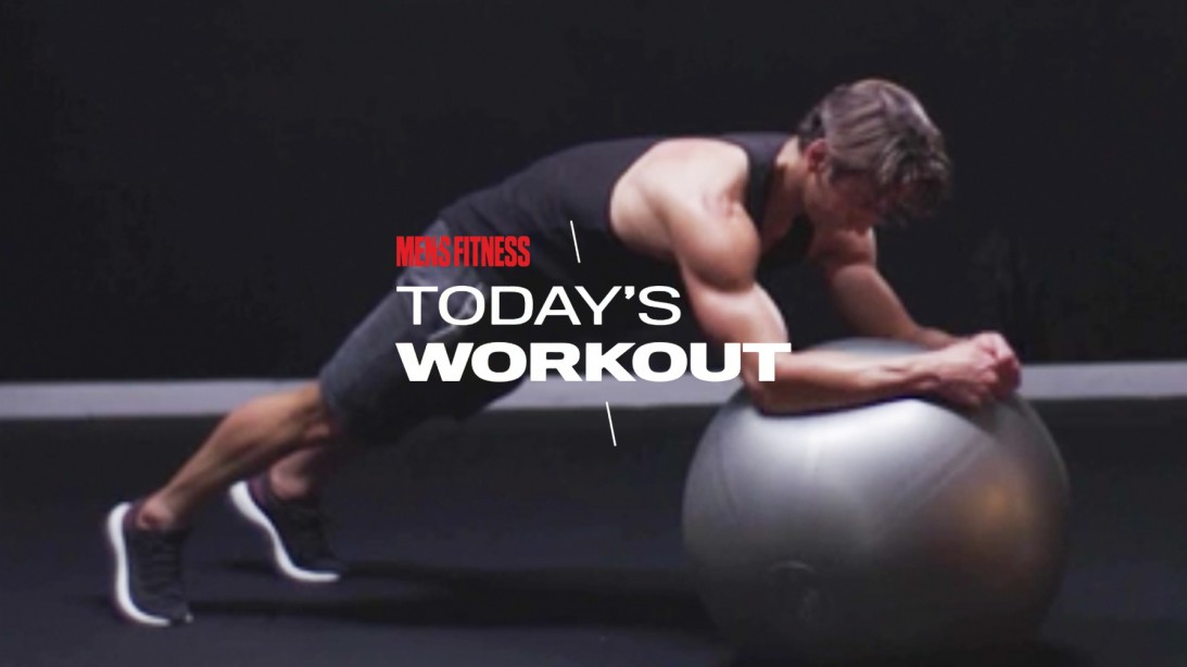 Man Does Swiss Ball Plank Circle Exercise