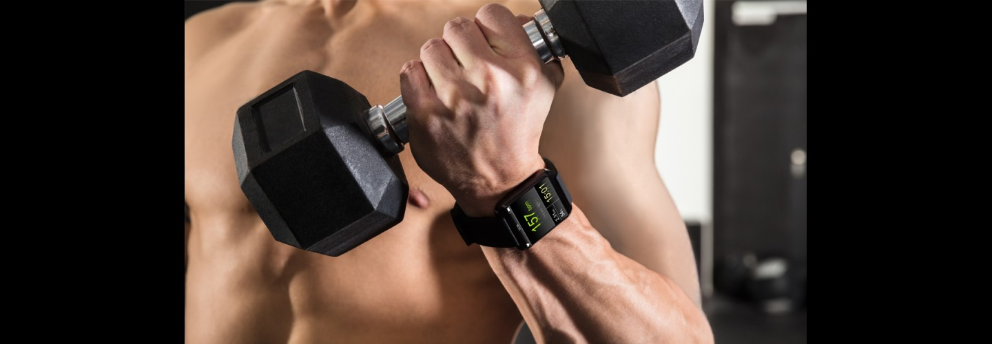 Muscular-Man-Holding-Dumbbell-Watch-on-Wrist thumbnail