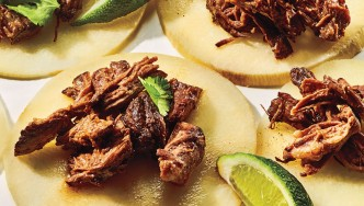 Slow cooker barbacoa with jicama tortillas