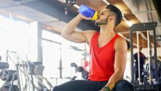 Man Drinking Protein Powder